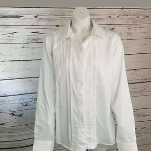 NWT Pendleton Shirt White Pintuck Long Sleeve 16